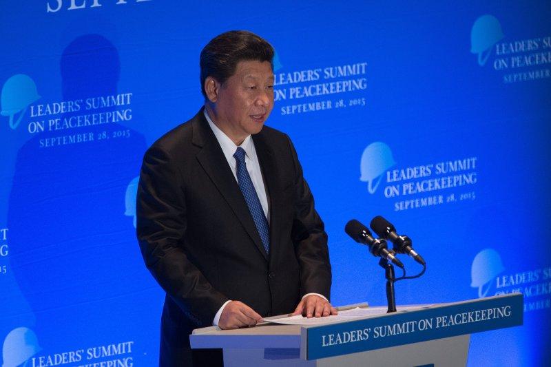 習近平在聯合國維和領袖峰會演說。(美聯社)