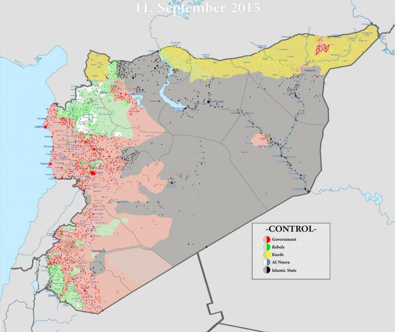 敘利亞形勢圖,紅色部分為政府軍,灰色為伊斯蘭國,綠色為溫和派反抗軍,黃色為庫德族(維基百科)