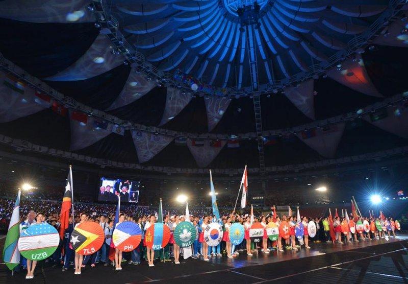 亞太共22個國家在桃園一同角逐獎牌,展現運動家精神。(鄭文燦臉書)