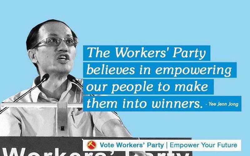 新加坡工人黨大選時的口號:令我們的民眾變得強大、成為贏家。