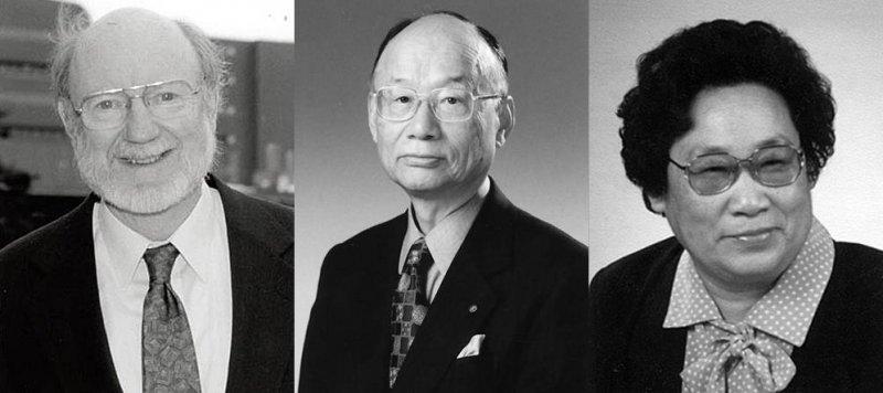 2015年諾貝爾生理學或醫學獎得主,由左至右:愛爾蘭裔美國科學家坎貝爾(William C. Campbell)、日本科學家大村智、中國科學家屠呦呦。