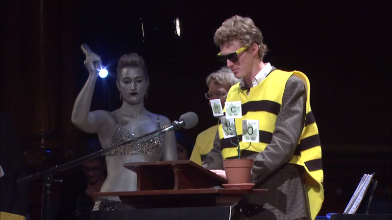 兩位勇敢(自虐)的科學家,穿著可愛的蜜蜂裝上台領獎。(圖/ImprobableResearch@youtube)