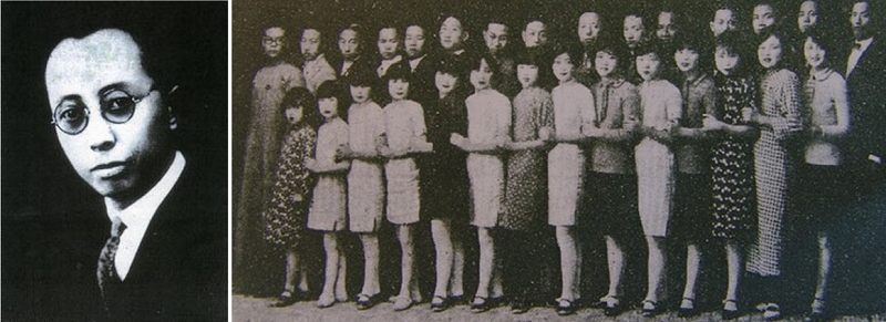 黎錦輝(左)和他創辦的明月社(左,全體演員合照,互動百科),創造中國第一個流行歌曲世代。
