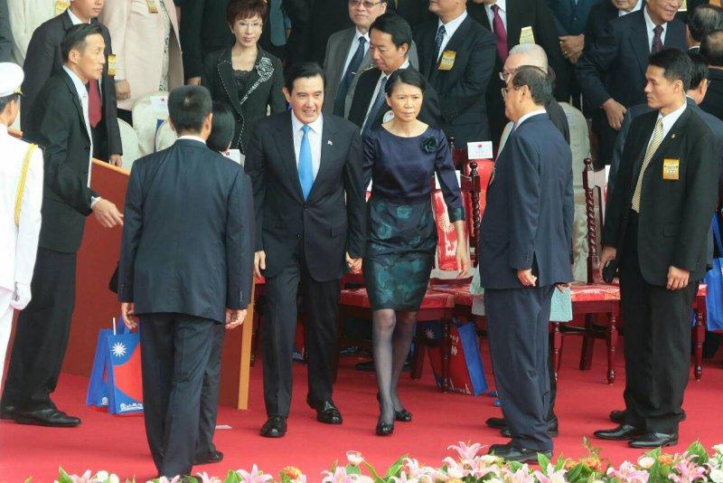 中華民國104年國慶大會,馬英九總統偕夫人周美青出席(顏麟宇攝)