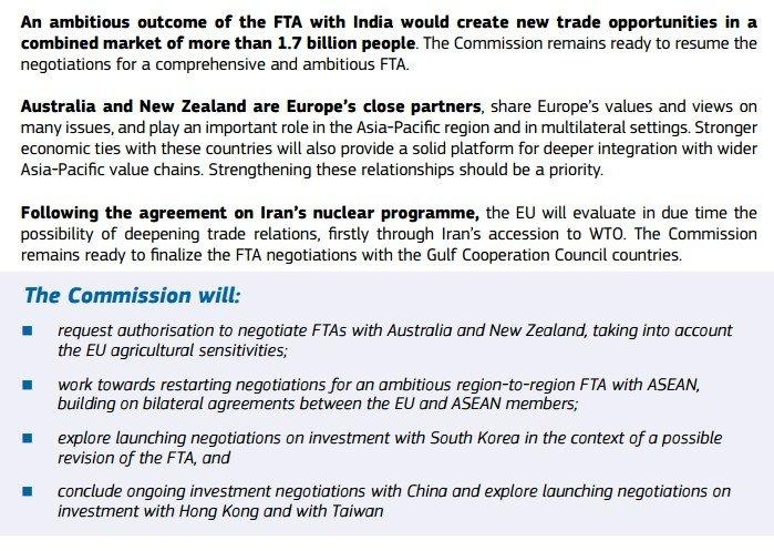 歐盟執委會貿易總署14日公布未來5年歐盟貿易政策報告,報告中明確指出將積極推動雙邊自由貿易協定(FTA),並會探索與台灣、香港啟動投資協定談判。(取自歐盟貿易政策報告)