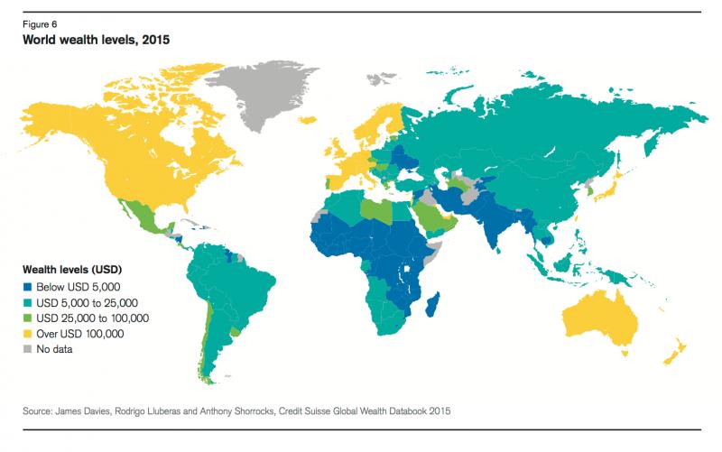 全球財富現況,顏色越亮越富、越暗越窮。如北美、西歐、日、澳為最富有區域,非洲、南亞等地則最貧窮。(瑞士信貸官網)
