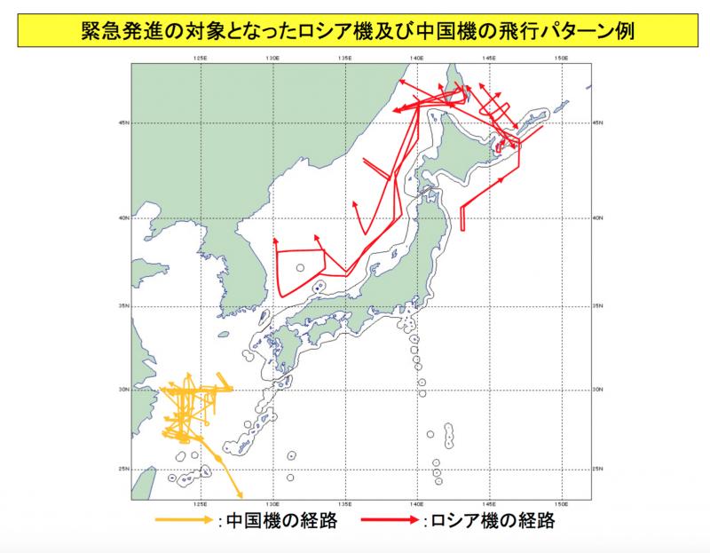 俄羅斯(紅線)與中國(黃線)軍機在日本領空周遭的飛行路徑一覽。(防衛省官網)