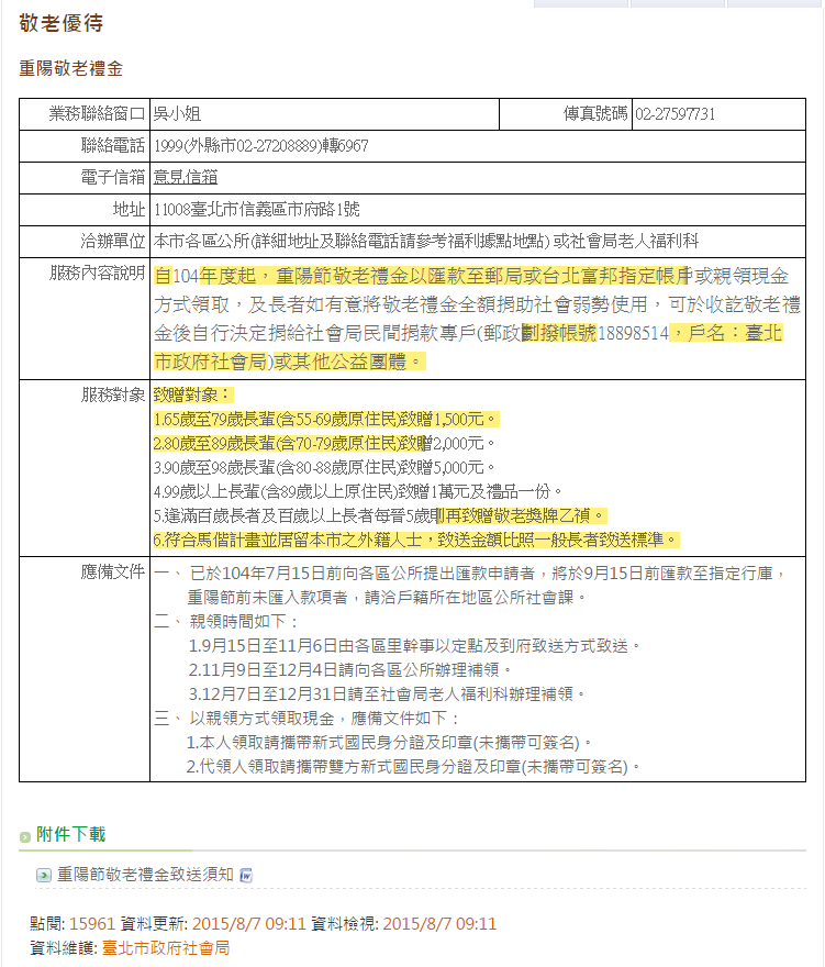 104年度敬老禮金領取辦法,明年起卻僅剩中低收入戶能領取。(取自台北市政府社會局官網)