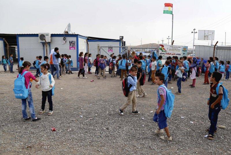 伊拉克卡爾戈斯克(Kawergosk)難民營中的學童。(美聯社)