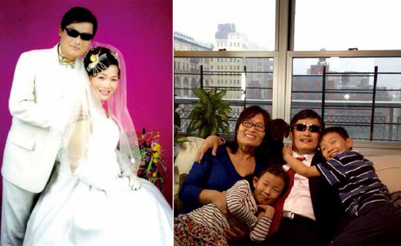 陳光誠與袁偉靜於2003年成婚(左),陳光誠抵美後的全家福(右)。(八旗文化提供)