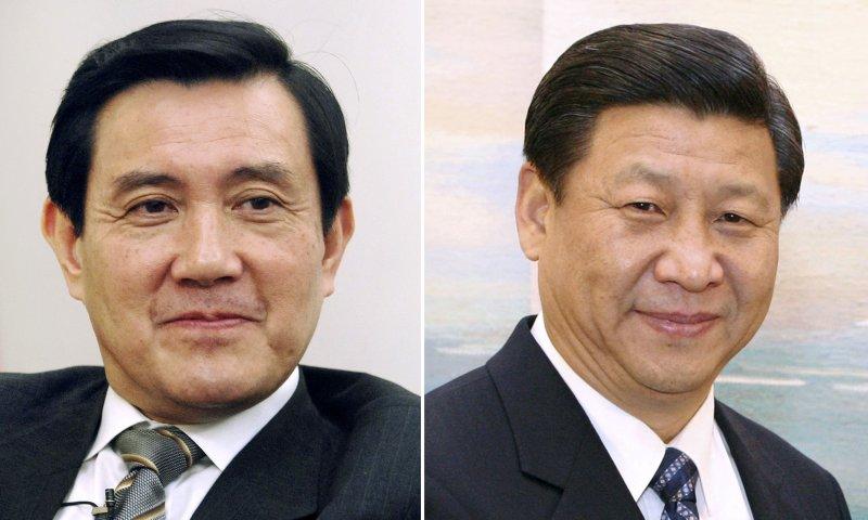 中華民國總統馬英九(左)與中國國家主席習近平(右)。(美聯社)