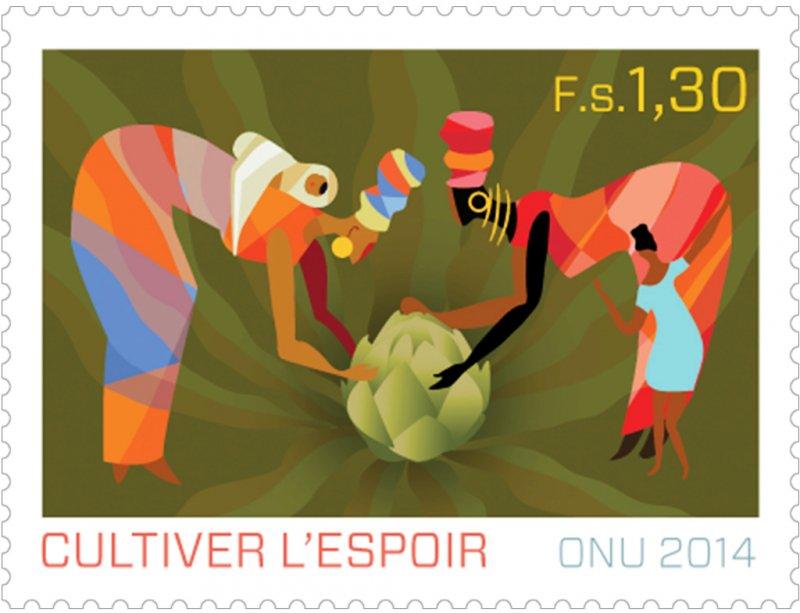 2014年聯合國發行「孕育希望系列」郵票,慶祝國際家庭農業年。(圖/ unstamps.org)