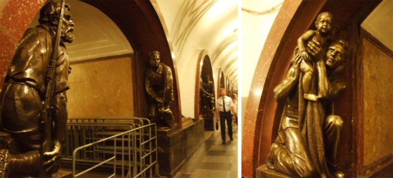 俄羅斯地鐵的青銅像。