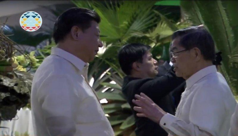 中國國家領導人習近平與台灣領袖代表前副總統蕭萬長會談逾5分鐘。(截圖自APEG官網影片)