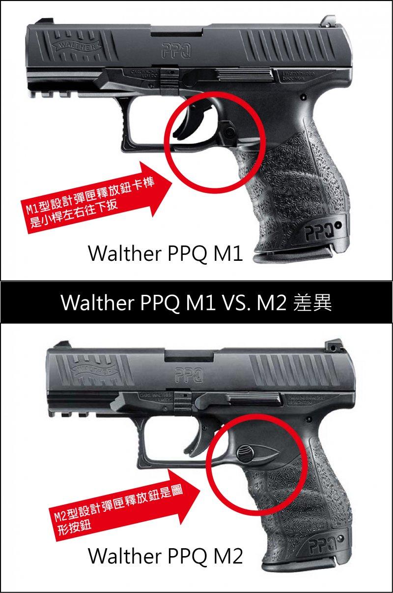 警政署新型手槍Walther PPQ M1 VS. M2 差異。(取自www.waltherarms.com/影像合成:風傳媒)