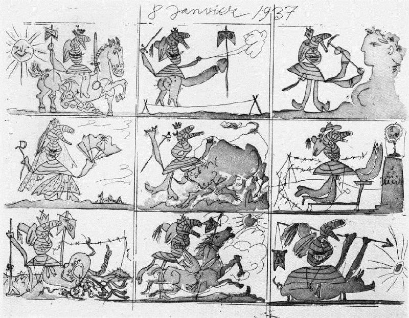 畢卡索的蝕刻畫《佛朗哥的狂想和謊言》(來源:畢卡索博物官網)