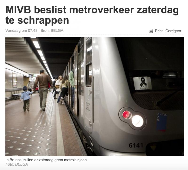 比利時媒體報導布魯塞爾調高反恐警戒,地鐵停駛一天。