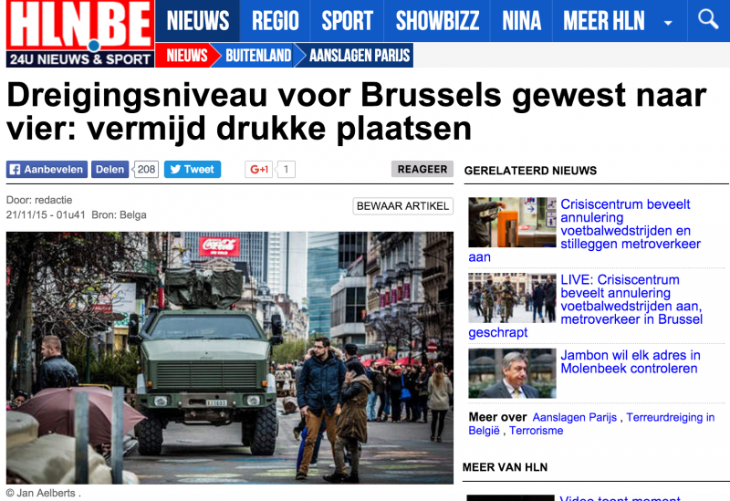比利時媒體報導布魯塞爾調高反恐警戒。