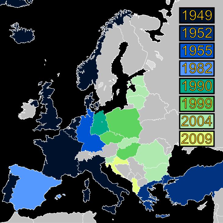 北約各成員國的加入年份。(維基百科)
