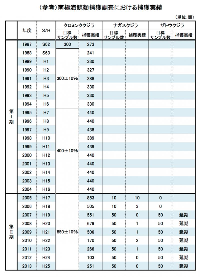日本自1987年後的科研捕鯨獵殺鯨魚頭數,左欄就是小鬚鯨,可以看出是日本科研捕鯨的「主要受害者」。