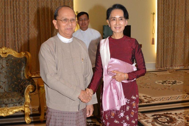 翁山蘇姬與總統登盛會面(美聯社)