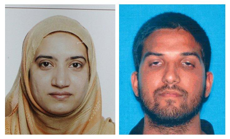 29歲的槍手美國法魯克(右)和28歲妻子馬立克(左)是加州槍擊案的主嫌。(美聯社)