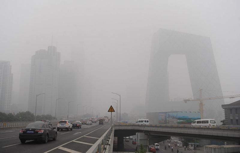 北京空汙發出紅色警報。(新華社)