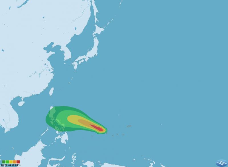颱風「茉莉」七級風暴風圈侵襲機率圖(取自中央氣象局)
