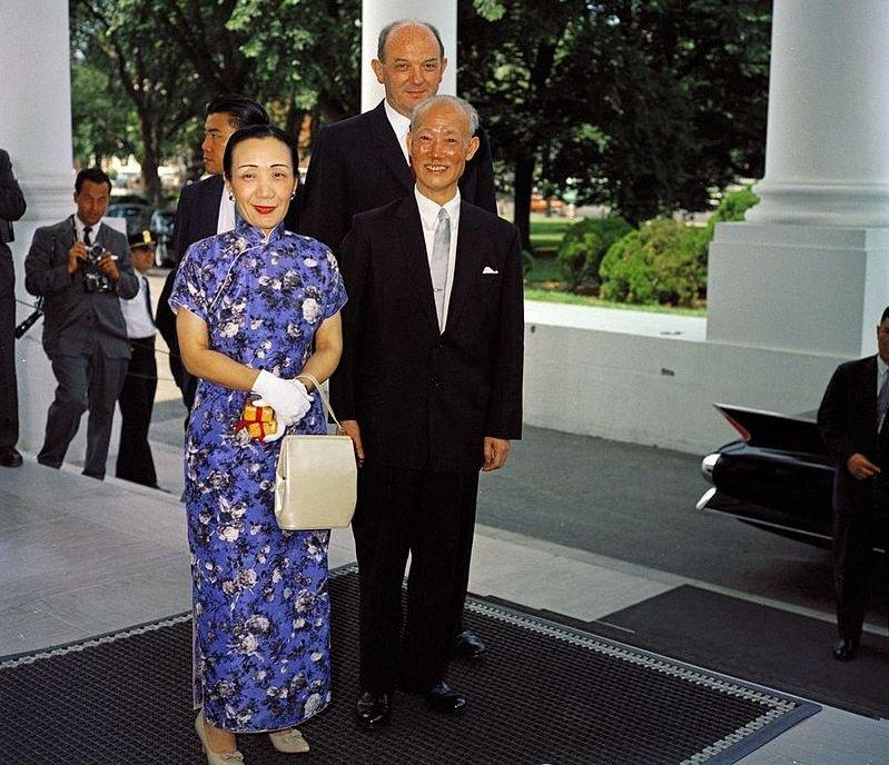 1961年7月訪問美國時,陳誠伉儷之合影。(維基百科)