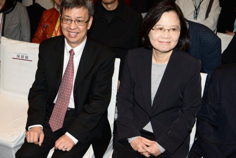 蔡英文和副手陳建仁出席生技產業國際策略峰會。(林俊耀攝)