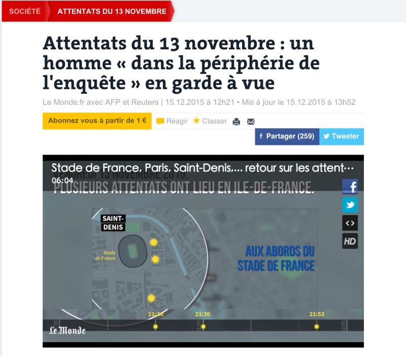 法國連環恐攻嫌犯落網。(世界報)