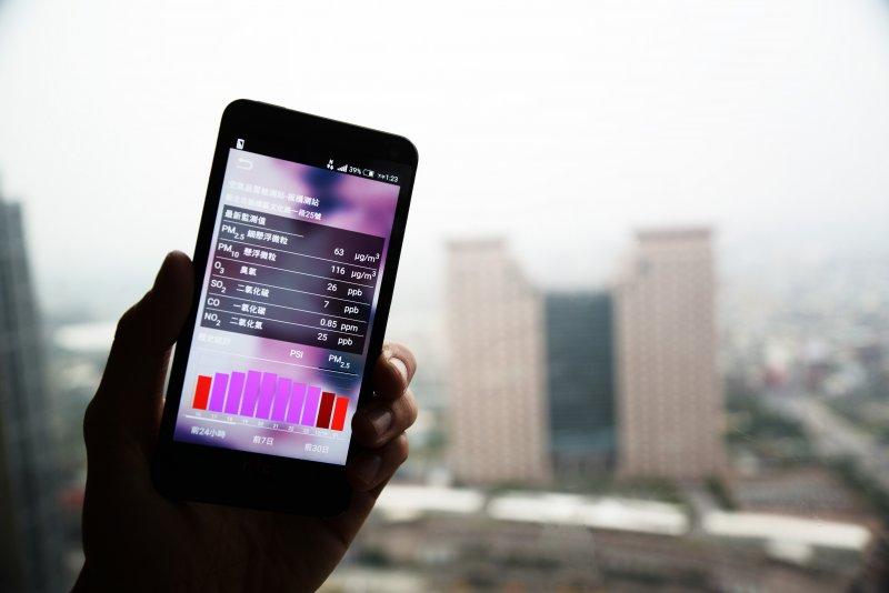 16日由於大陸強烈冷氣團帶來境外汙染物,全台灣各地PM2.5(細懸浮微粒)出現紫爆等級,圖為板橋測站測得的數值。(林俊耀攝)
