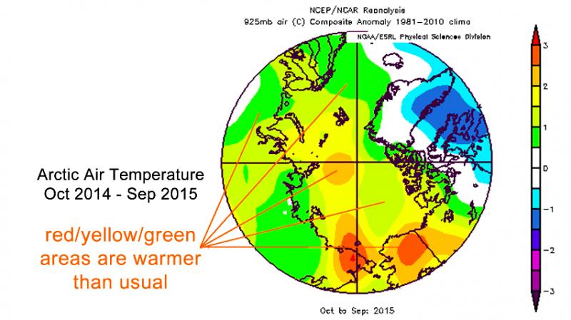 北極最熱的一年 專家警告:極端氣候只會更頻繁。(取自NOAA)