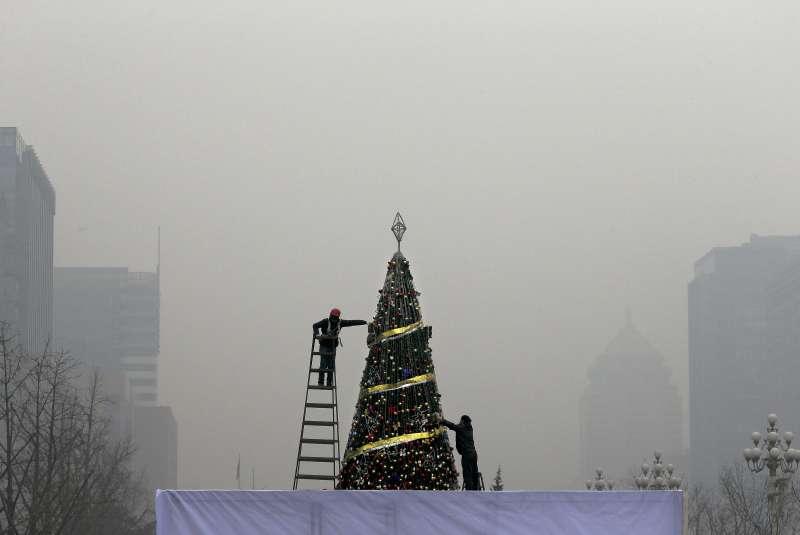 北京霧霾。(美聯社)
