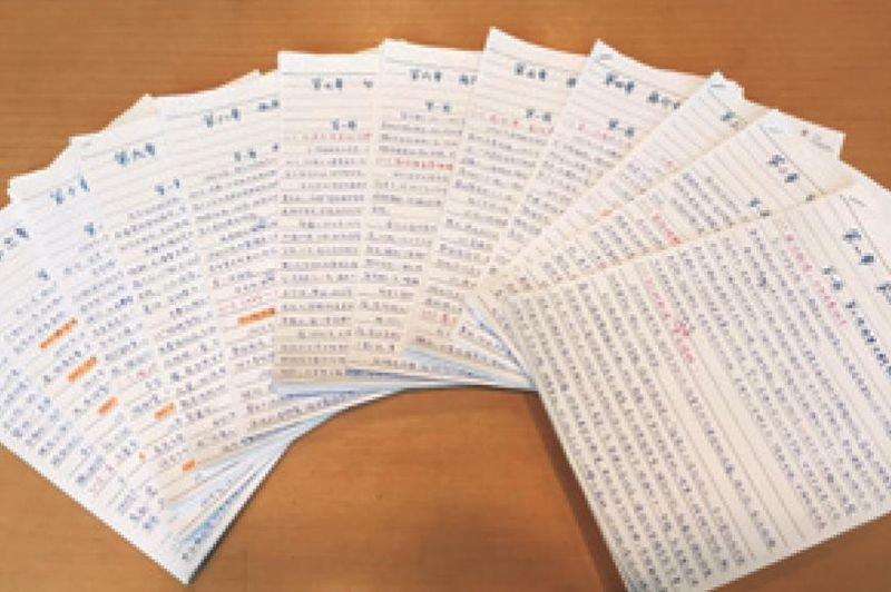 〈戰後70年台灣史》作者陳世昌的手寫原稿。(時報出版提供)