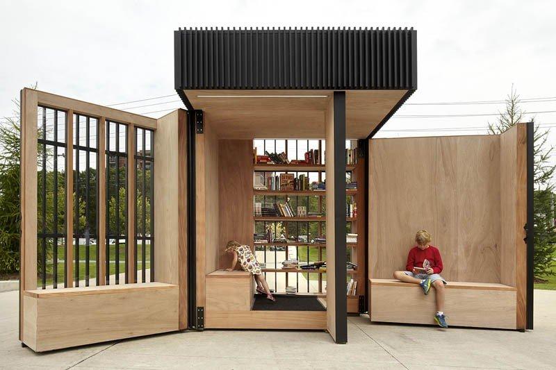兩面牆就像書的封面和內頁一樣,整個空間和寬闊的公園連在一起 (圖/AKB)