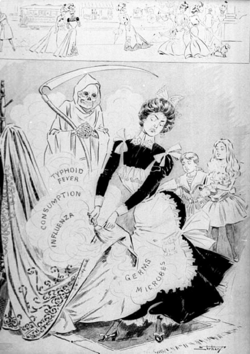 這幅一九二○年的插畫顯現當時大眾仍不了解細菌理論,以及對家僕的恐懼。圖中描繪死神舉起鐮刀摩拳擦掌,滿懷期待看著女僕把病菌掃至空氣中。(遠流出版提供).jpg