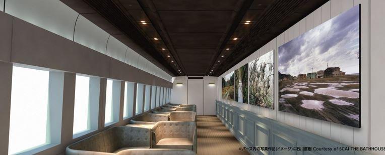 車廂的假想樣貌,牆上為攝影師石川直樹的作品。(翻攝現美新幹線官網)