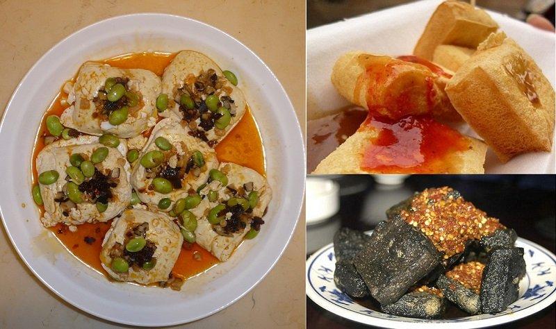 臭豆腐名堂比想像得多,湖南臭豆腐又臭又辣(左),揚州臭豆腐是黑豆干(右上),蘇州臭豆腐文雅多了(右下),想來芸年吃的是蘇州臭豆腐。