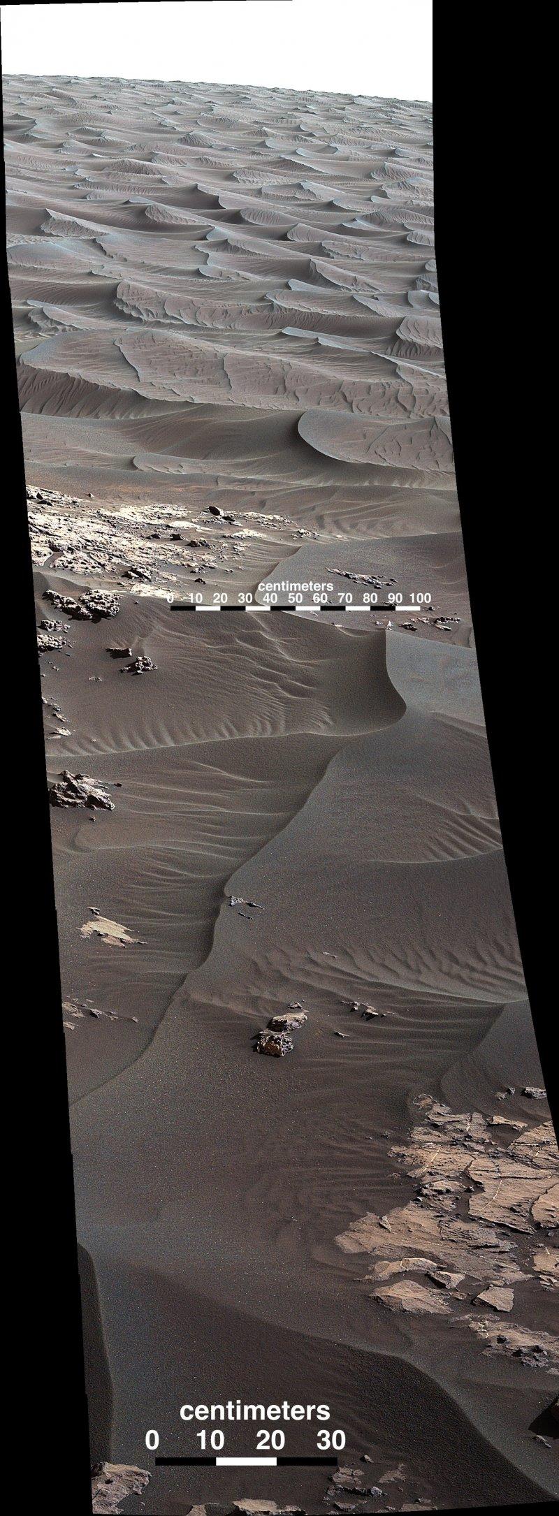 附近的迎風面沙丘則呈現完全不同的沙波紋(取自NASA/JPL-Caltech)