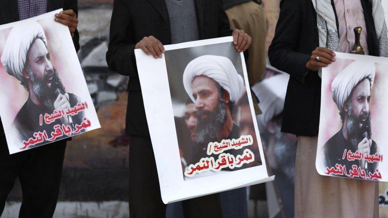 葉門叛軍胡塞組織(Houthis)上街抗議尼姆遭處死(美聯社)