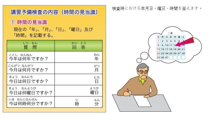 針對75歲以上的高齡駕駛所設的講習事前檢查,主要用來檢測其記憶力及判斷力是否正常。(翻攝高齡駕駛支援網站)