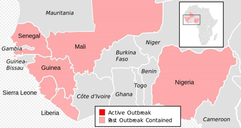 伊波拉病毒出血熱疫區地圖(維基百科)