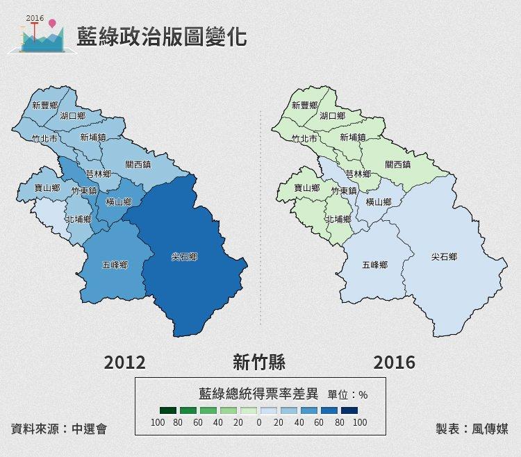 20160116-SMG0034-S01b-03-風數據/2016總統立委選舉,新竹縣藍綠政治版圖變化(切割圖)