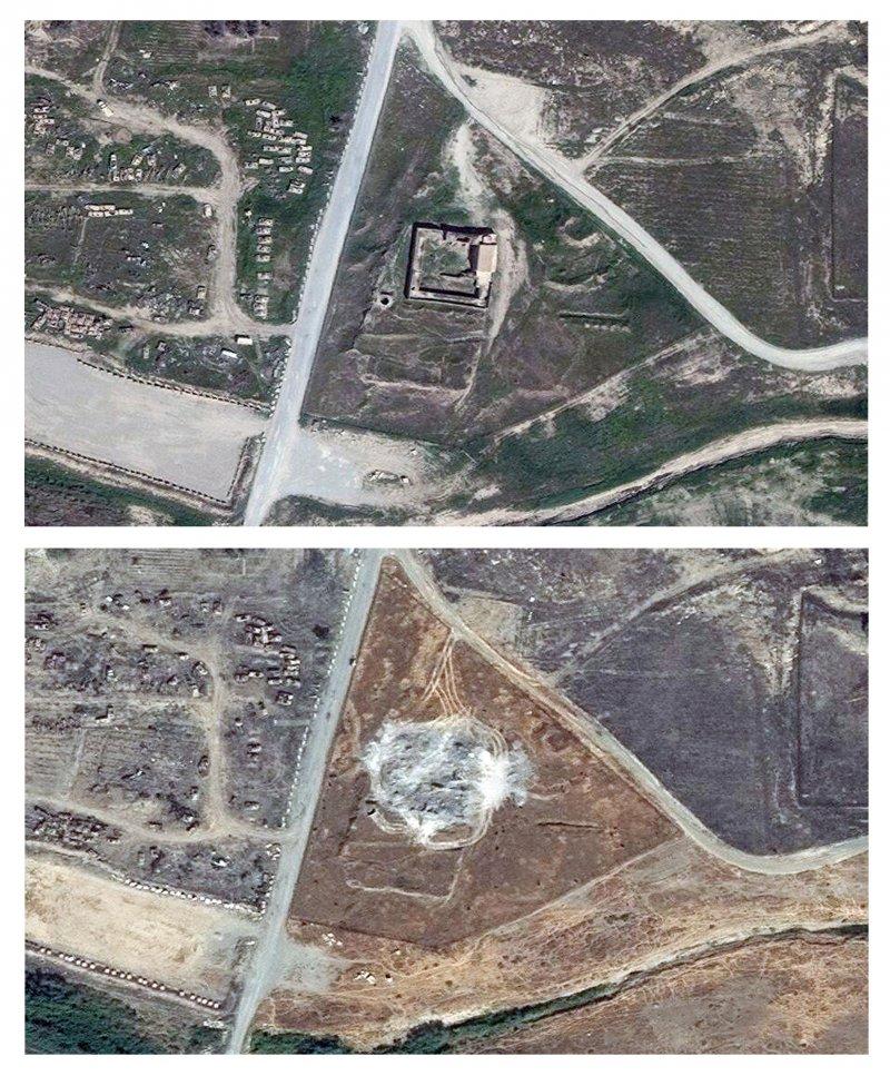 伊拉克摩蘇爾(Mosul)的聖以利亞修道院(Dair Mar Elia,St. Elijah's Monastery)的衛星照,上為摧毀前,下為摧毀後(美聯社)