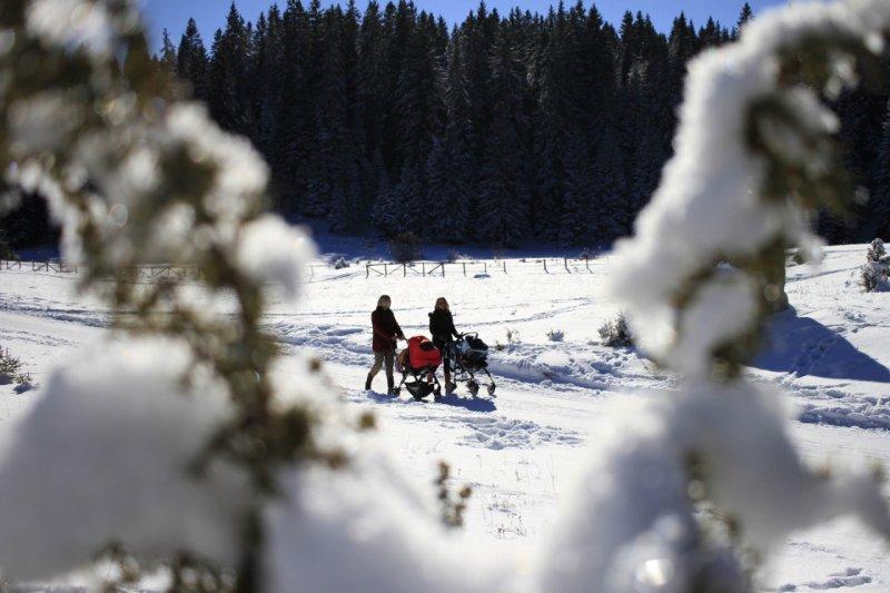 歐洲冰天雪地,開車太危險還不如用走的。(美聯社)