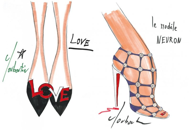 魯布托的設計手稿非常講究細節,左為早期受歡迎的鞋款「LOVE」。(圖/天馬行空提供)