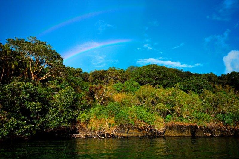 帛琉天天有陣雨,成了彩虹的故鄉,運氣好還可同時看見霓。(圖/邱宏照臉書)