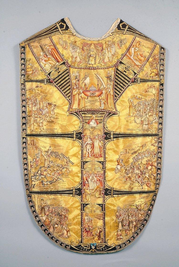 教宗碧岳11世的祭披與領帶。(取自故宮官網,梵諦岡城國政府版權所有)
