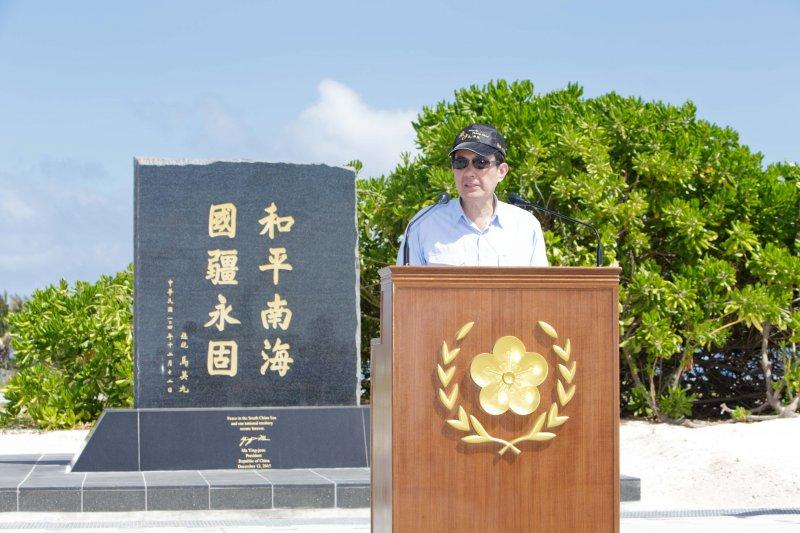 總統馬英九於太平島碼頭發表談話。(總統府提供)
